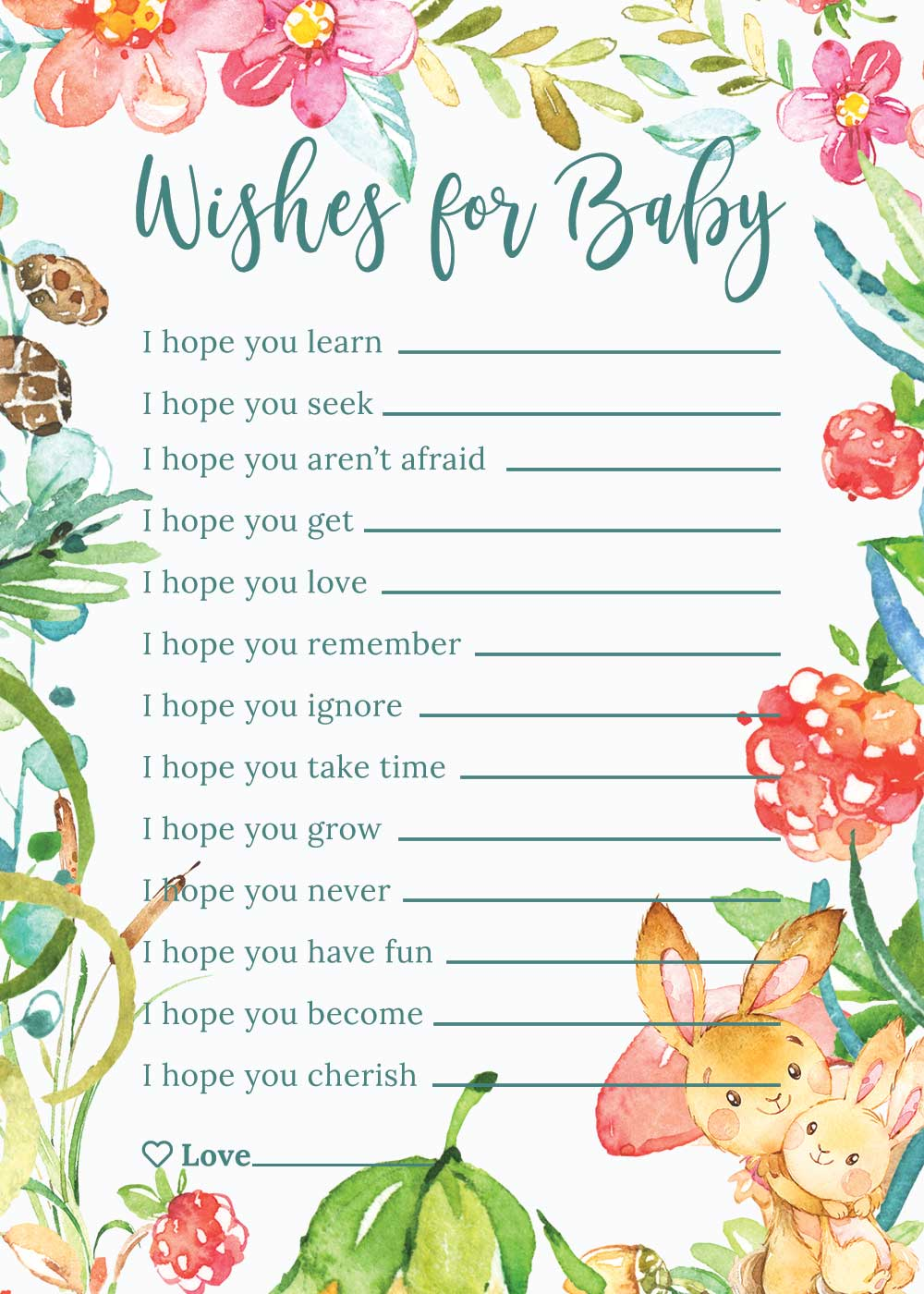 Baby Shower Wishes for baby card - Raspberry theme