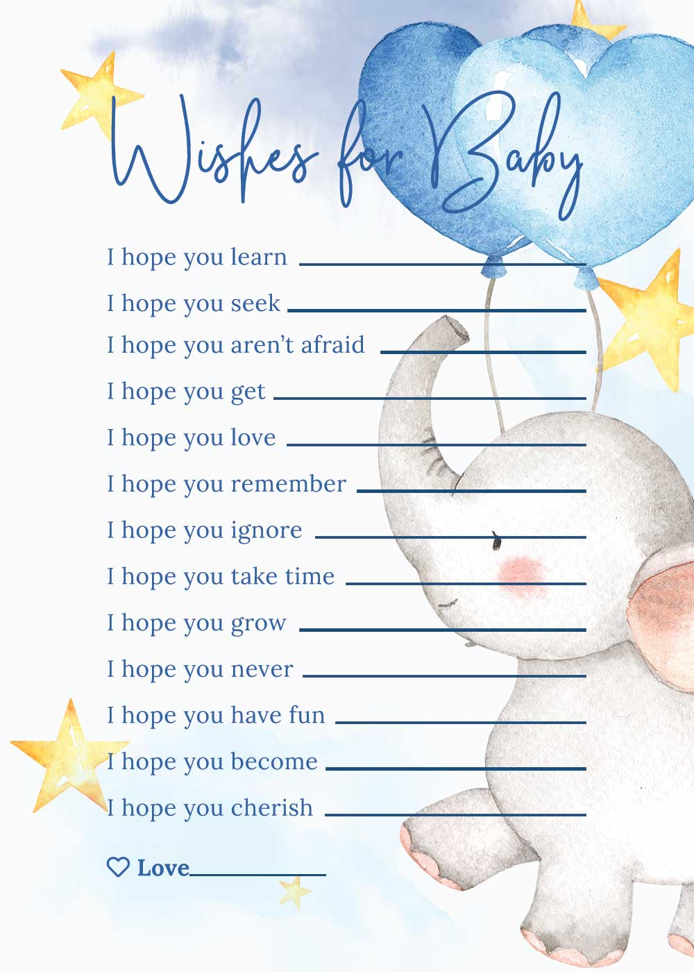 Baby Shower Wishes for baby card - Elephant theme