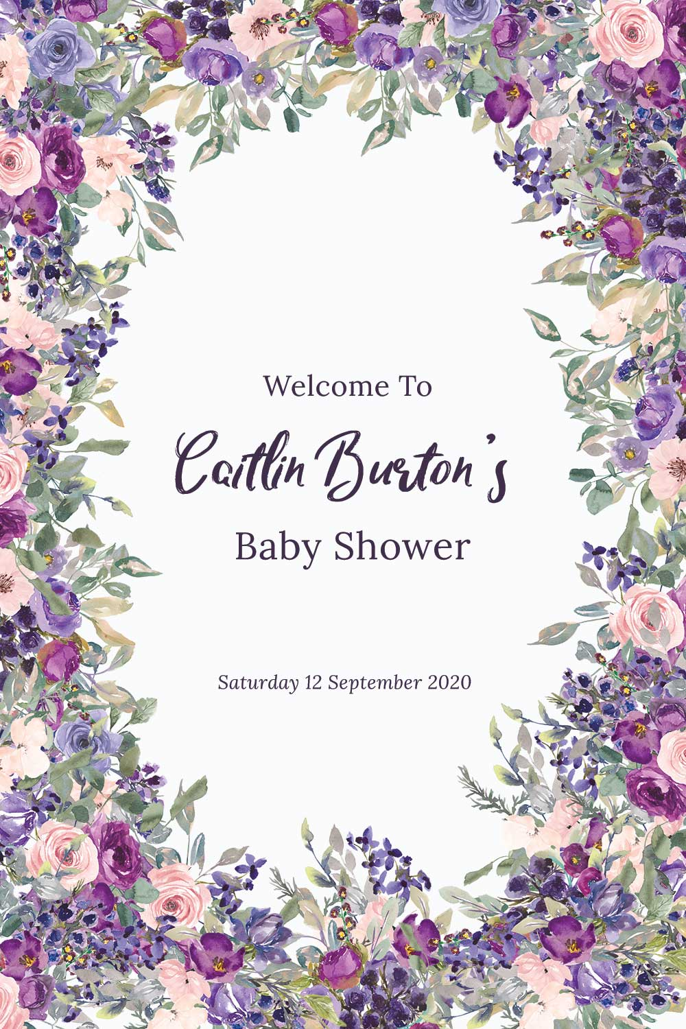 Baby Shower Welcome signs - Plum theme