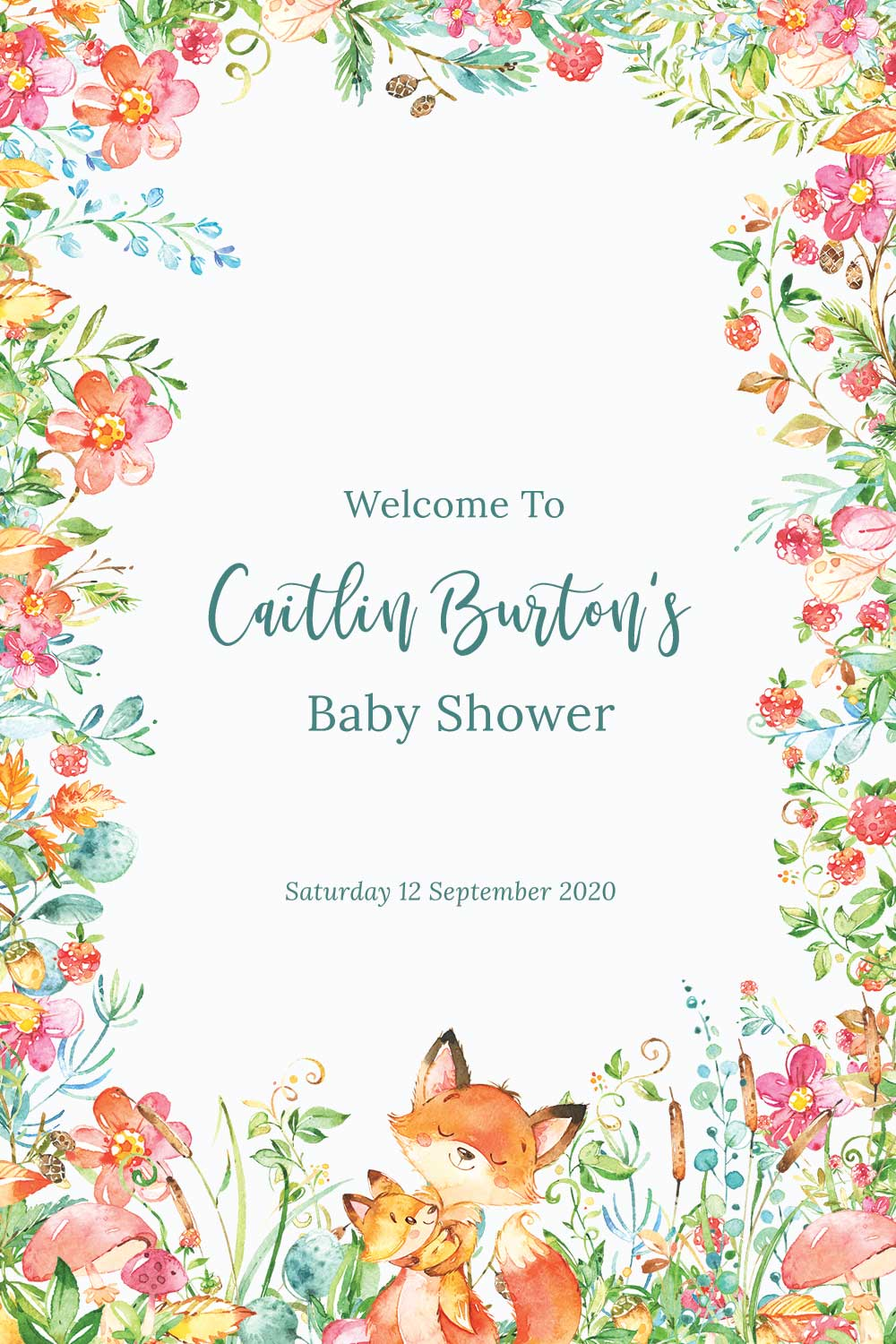 Baby Shower Welcome signs - Raspberry theme