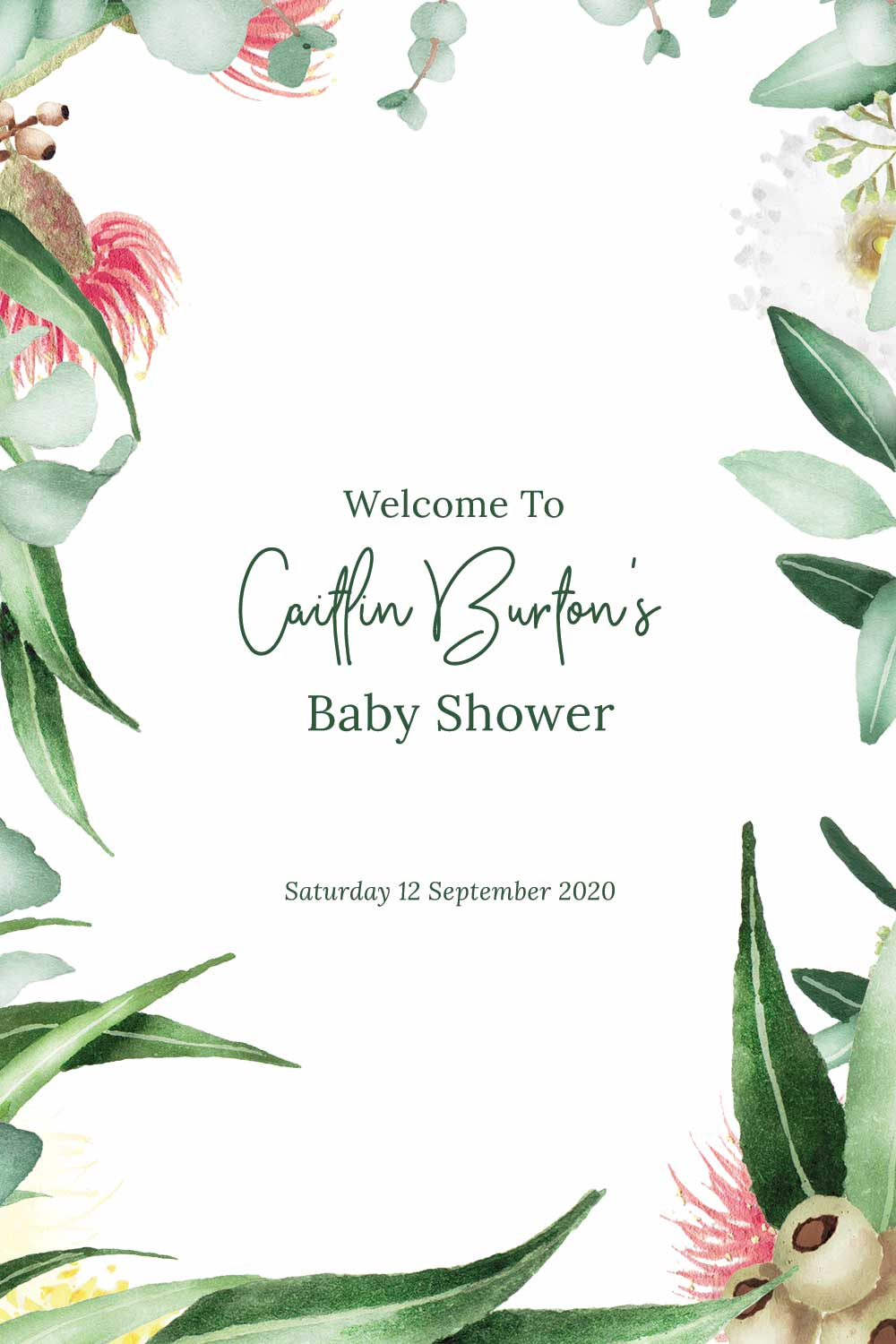 Baby Shower Welcome signs - Gum nut Theme