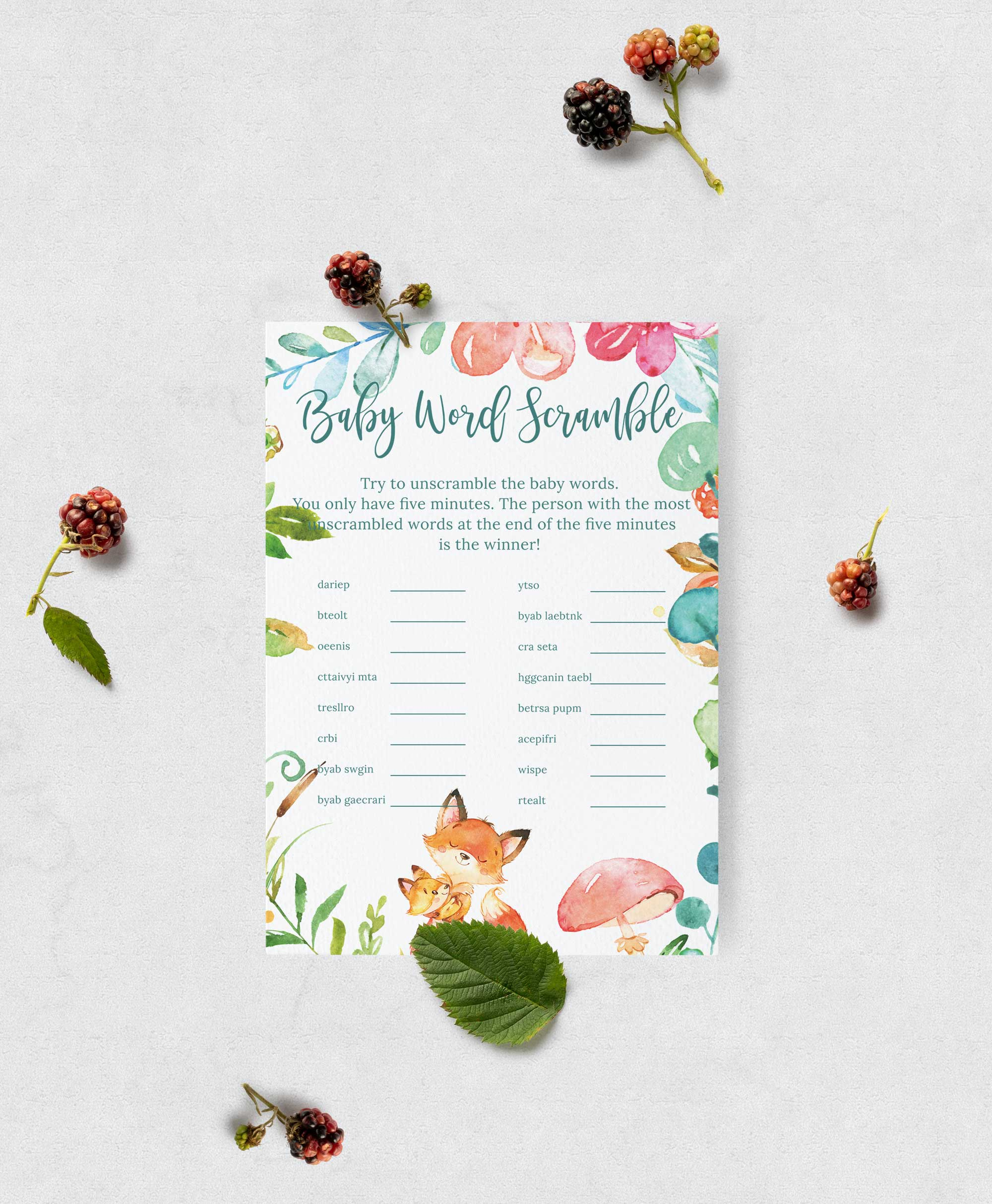 Baby shower Baby name scramble game