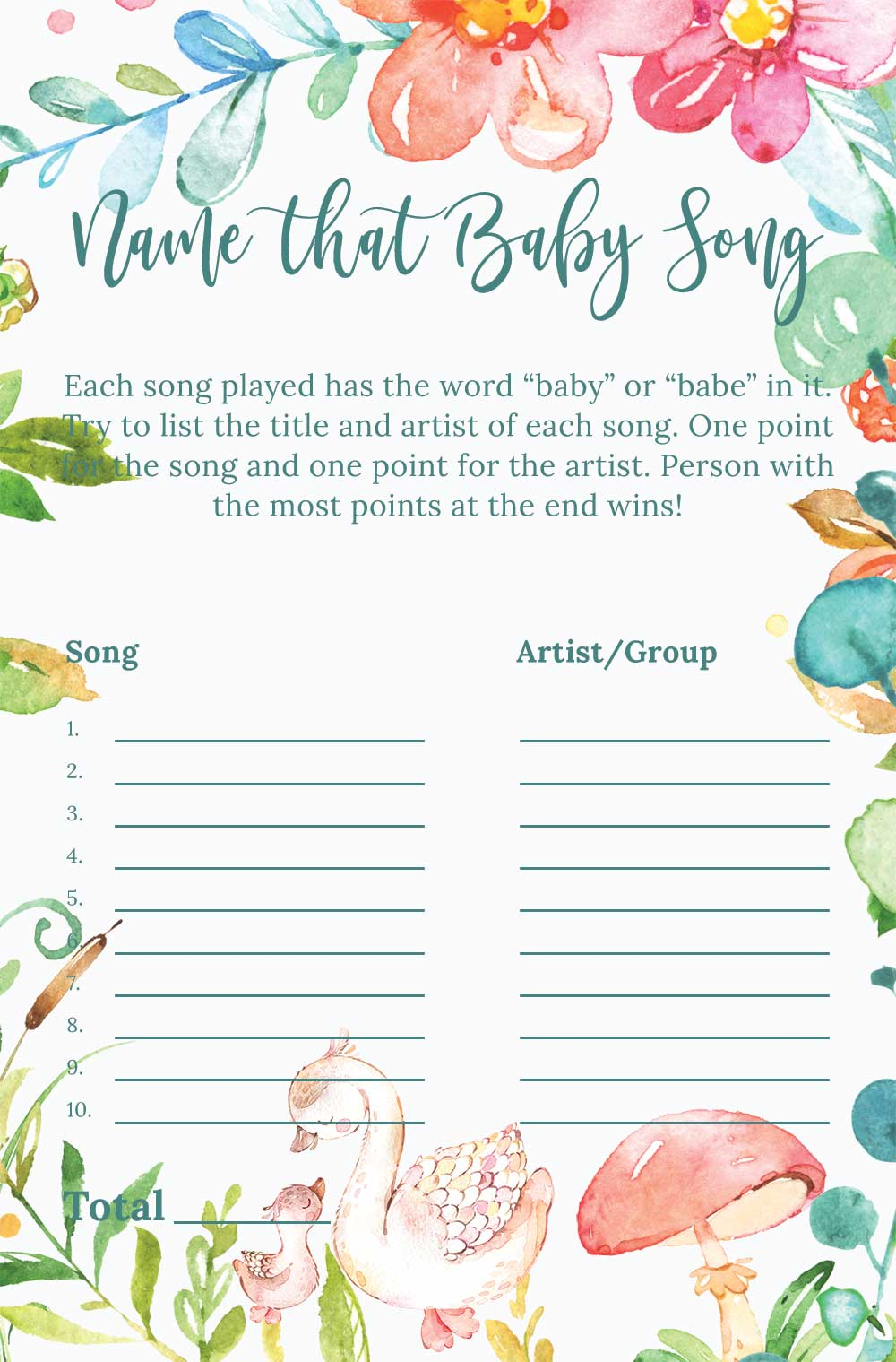 Name that baby song game - Raspberry theme