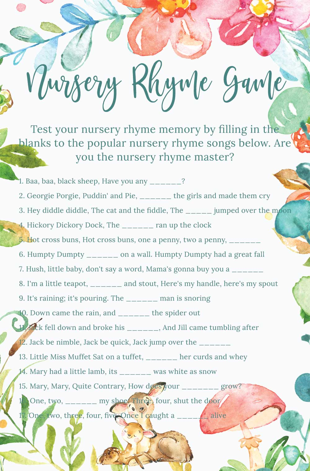 Nursery rhyme game - Raspberry theme