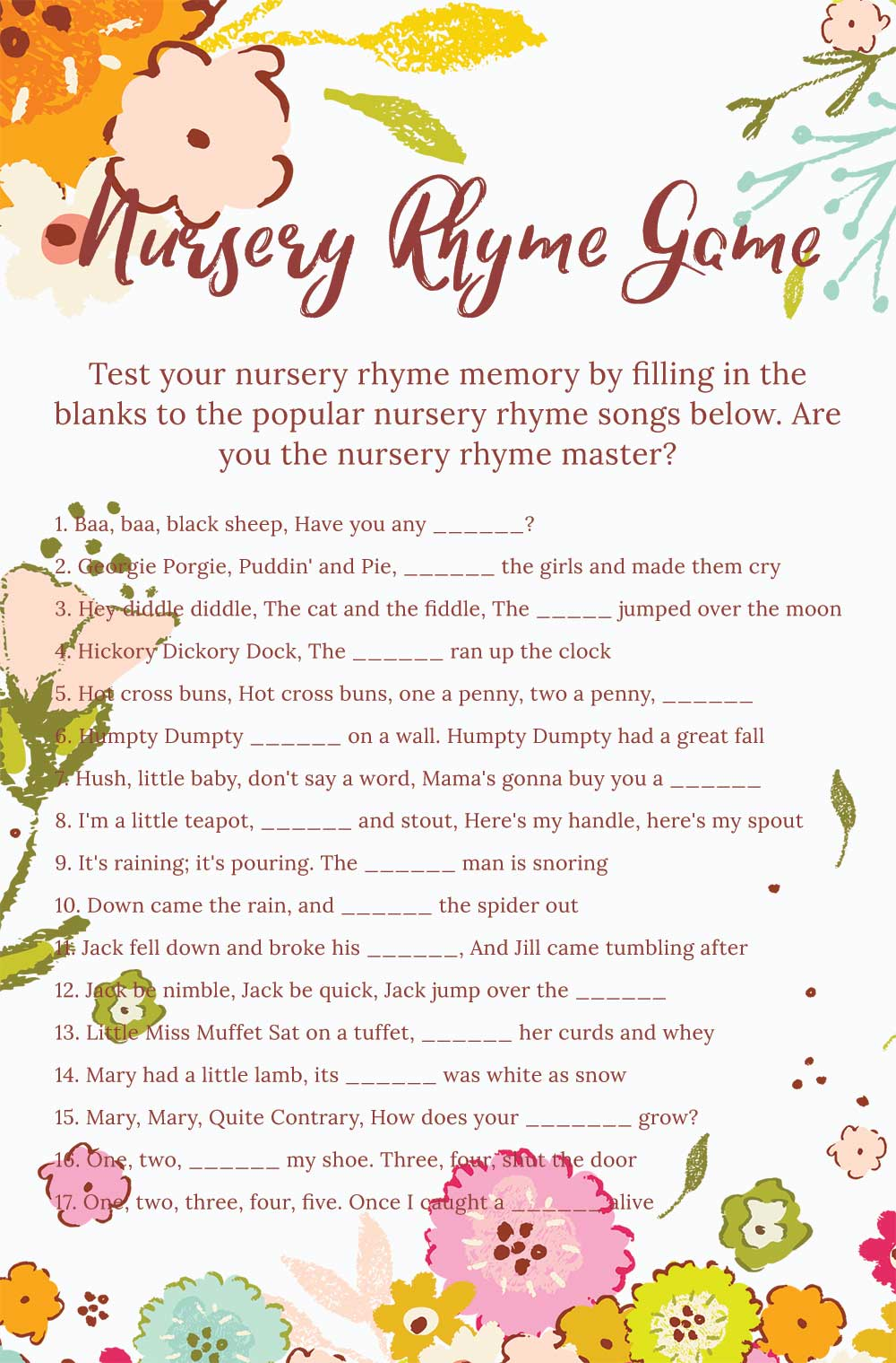Nursery rhyme game - Spring theme