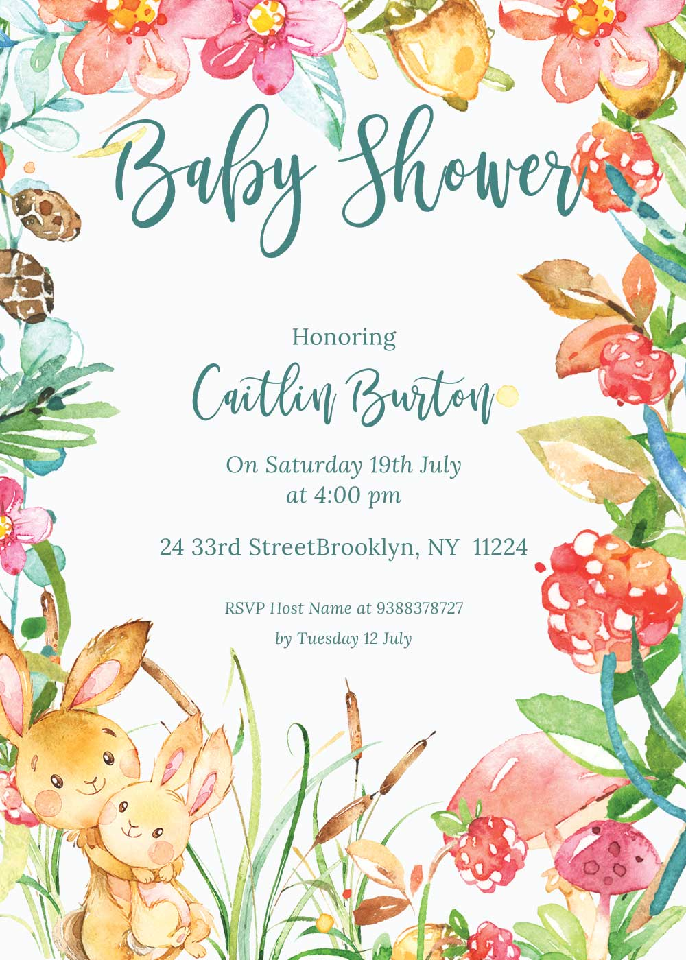Baby shower invitations - Raspberry theme