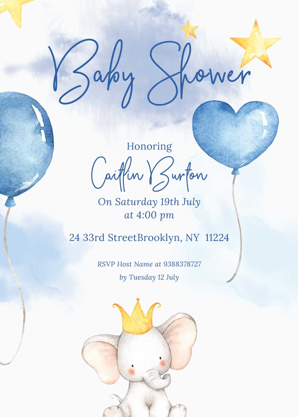 Baby shower invitations - Elephant theme