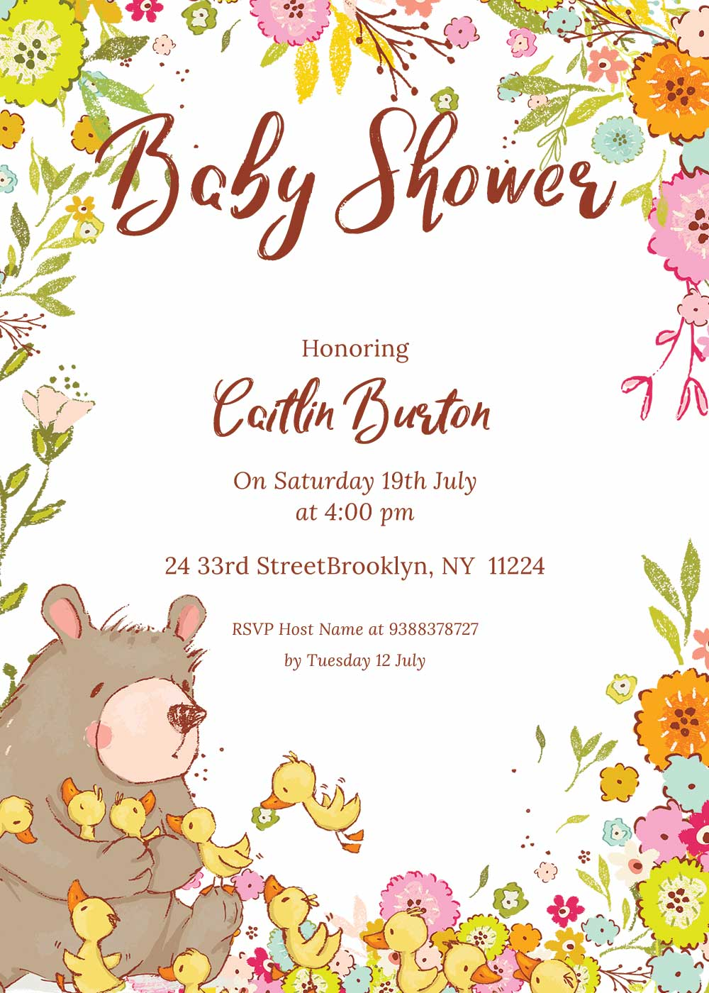 Baby shower invitations - Spring theme