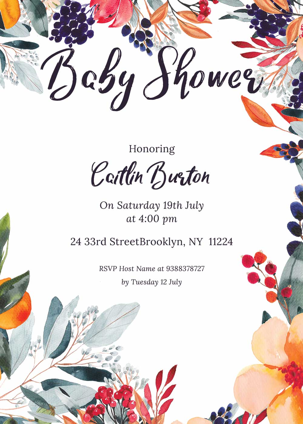 Baby shower invitations - Summer Theme