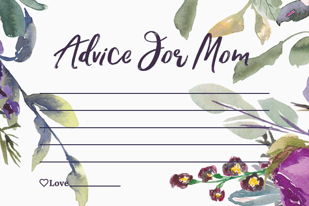 Baby Shower Advice For Mom Cards - Plum Theme