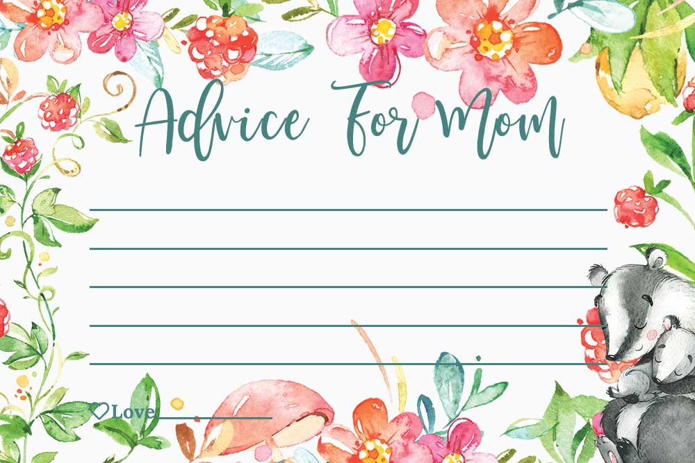 Baby Shower Advice For Mom Cards - Raspberry theme