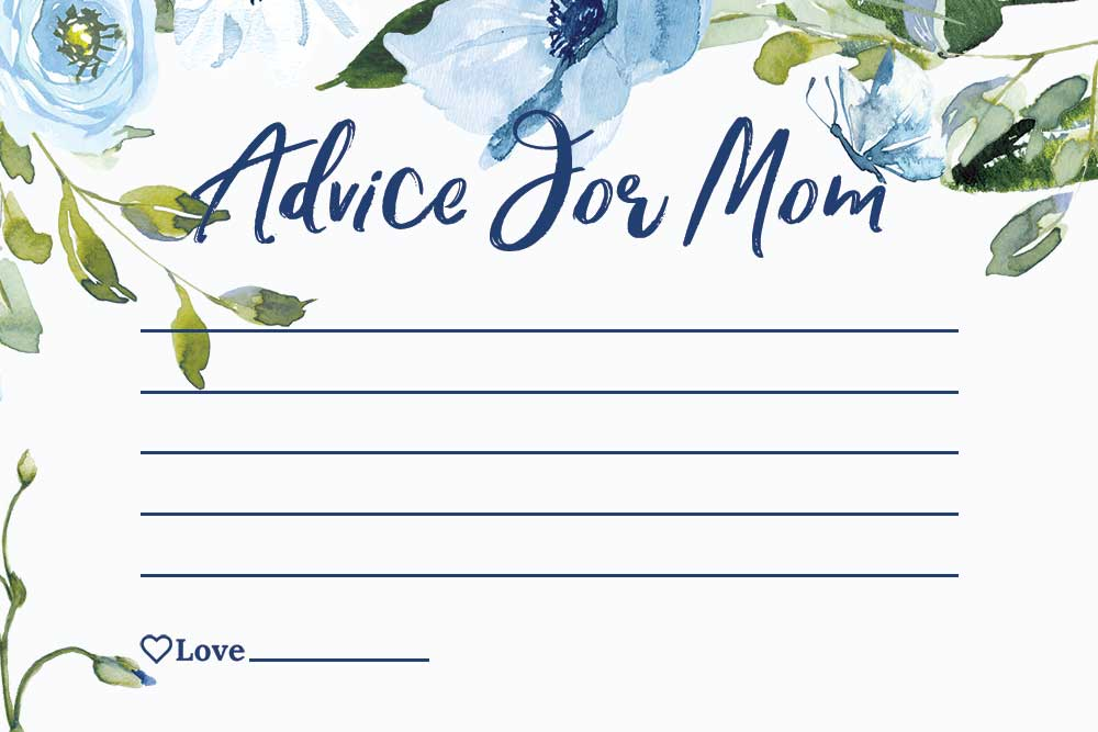 Baby Shower Advice For Mom Cards - Sky Theme