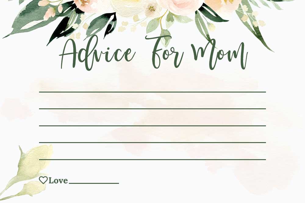 Baby Shower Advice For Mom Cards - Blush Theme
