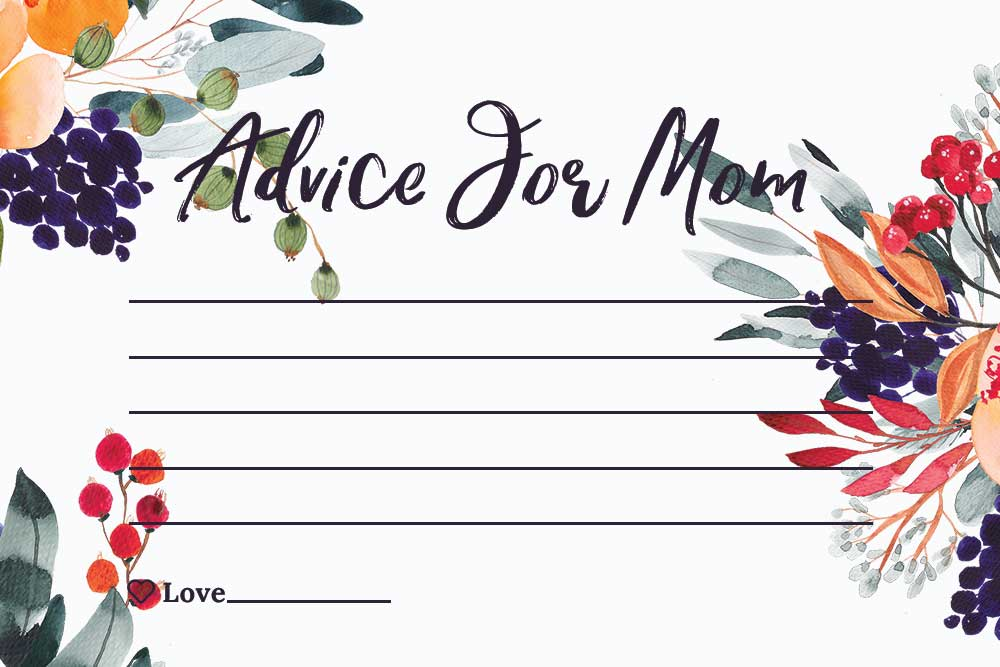 Baby Shower Advice For Mom Cards - Summer Theme