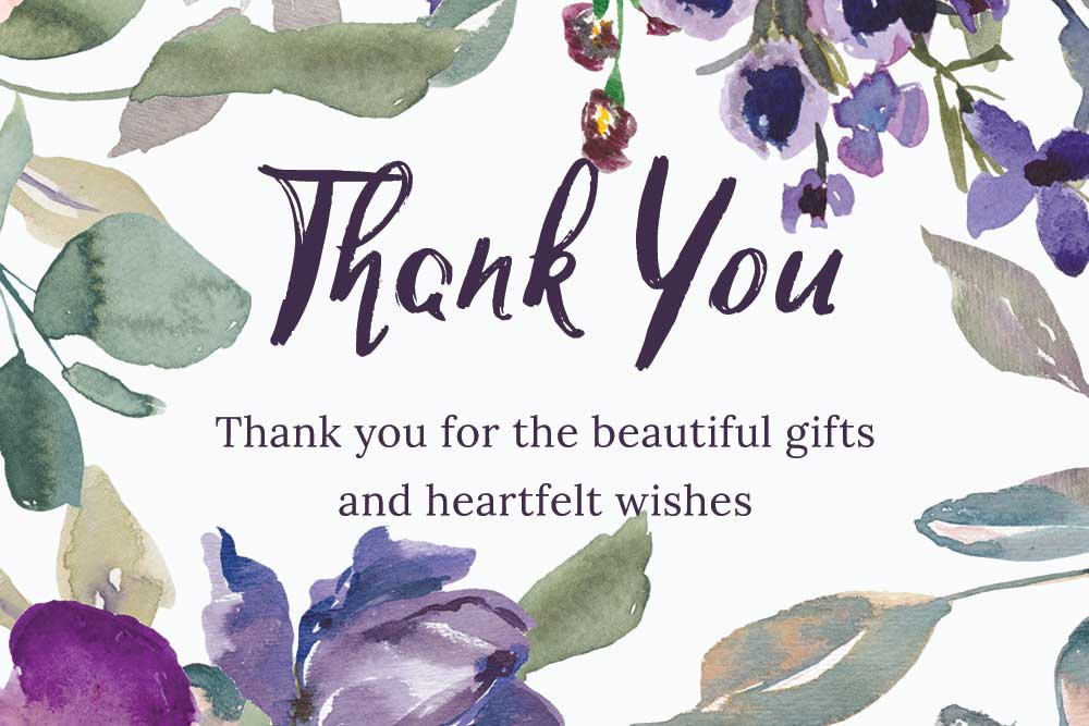 Baby Shower Thank you cards - Plum Theme