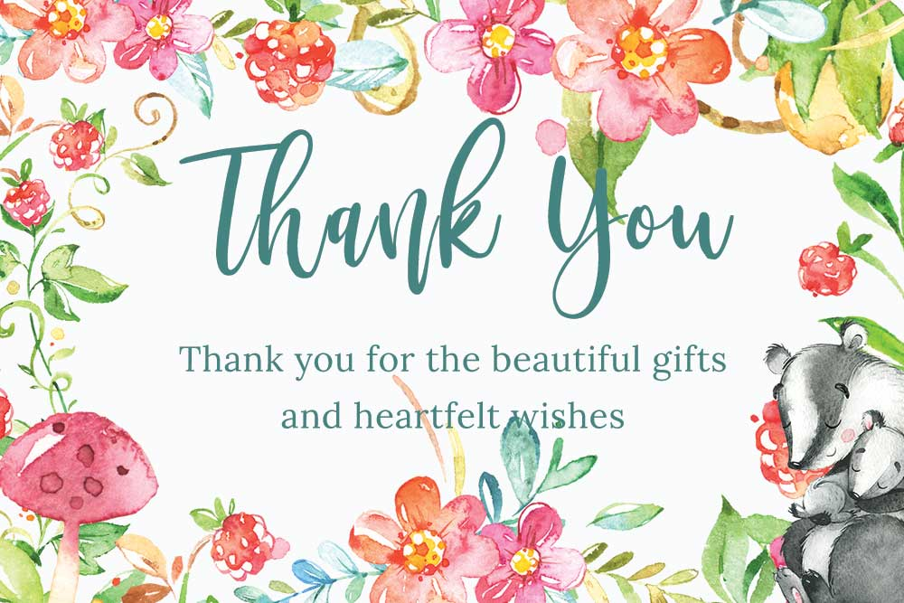 Baby Shower Thank you cards - Raspberry theme