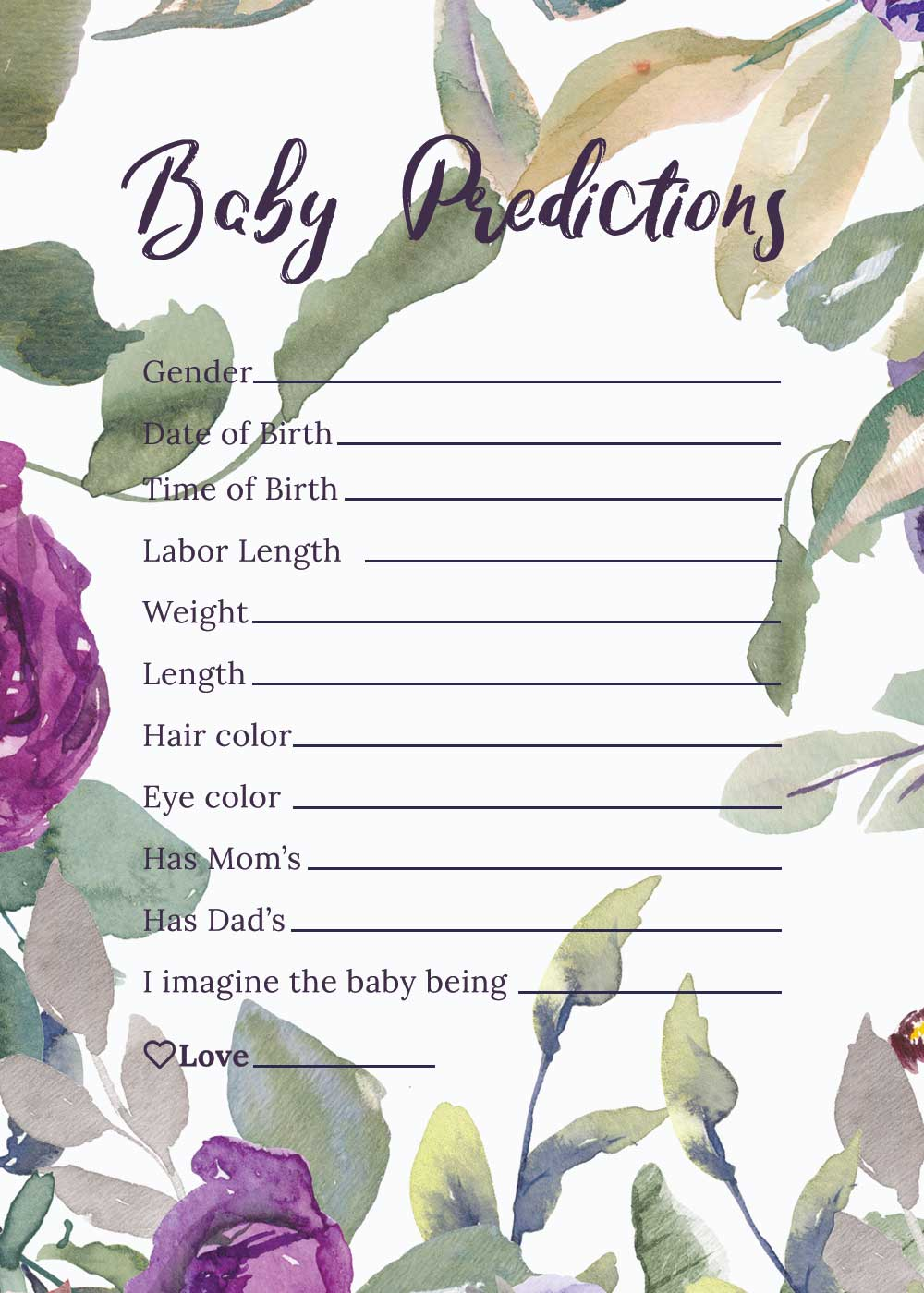 Baby Shower Baby prediction card - Plum Theme