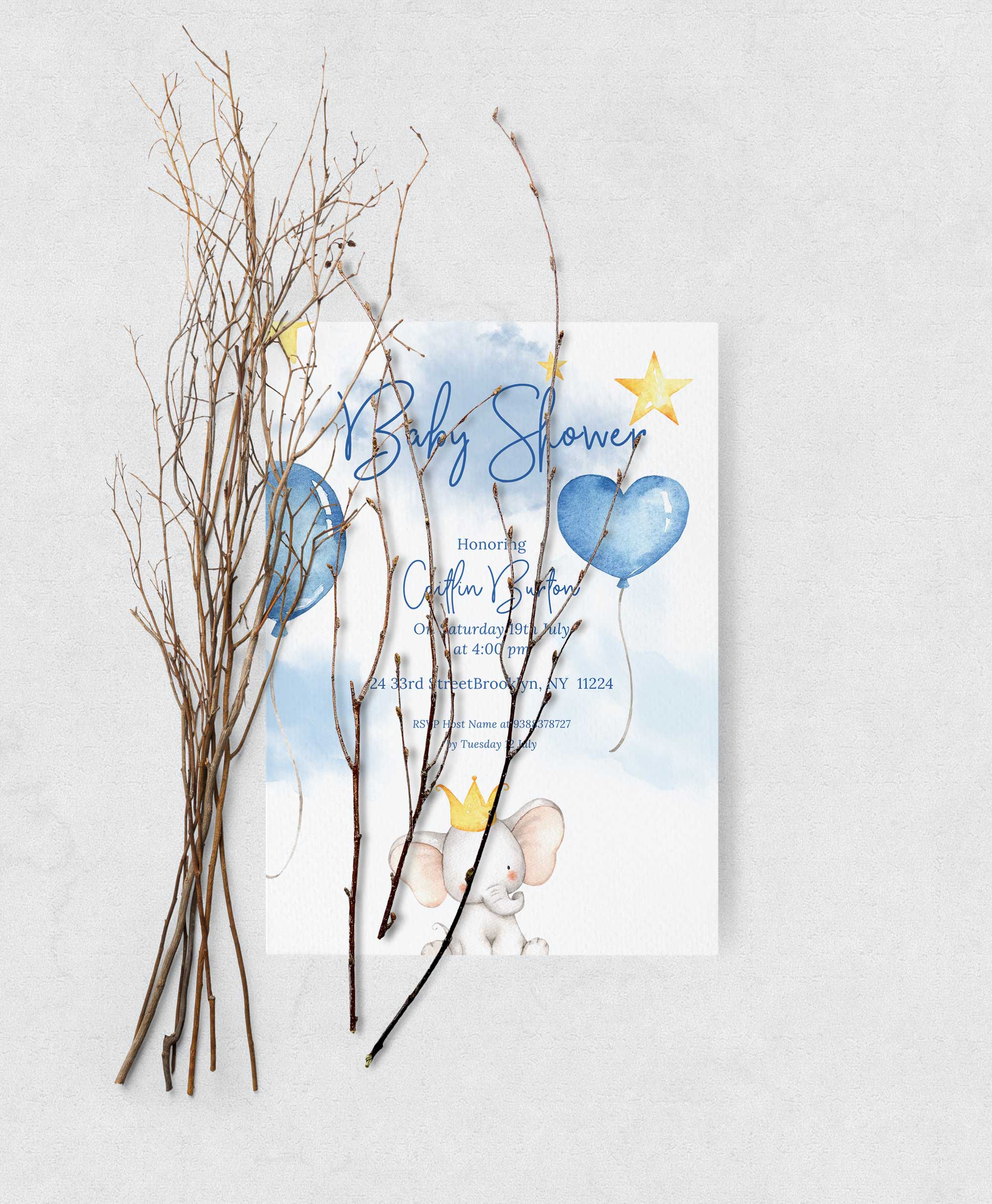Baby Shower books for baby inserts - Elephant theme